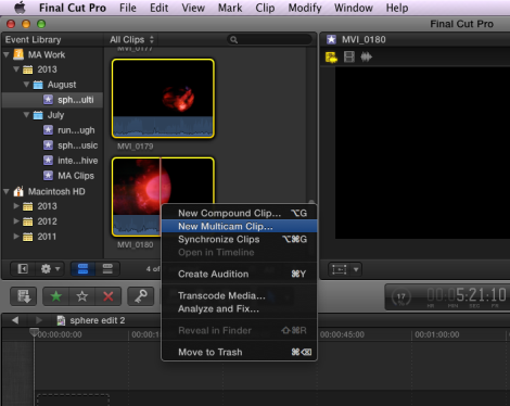 Creating a multi-cam clip
