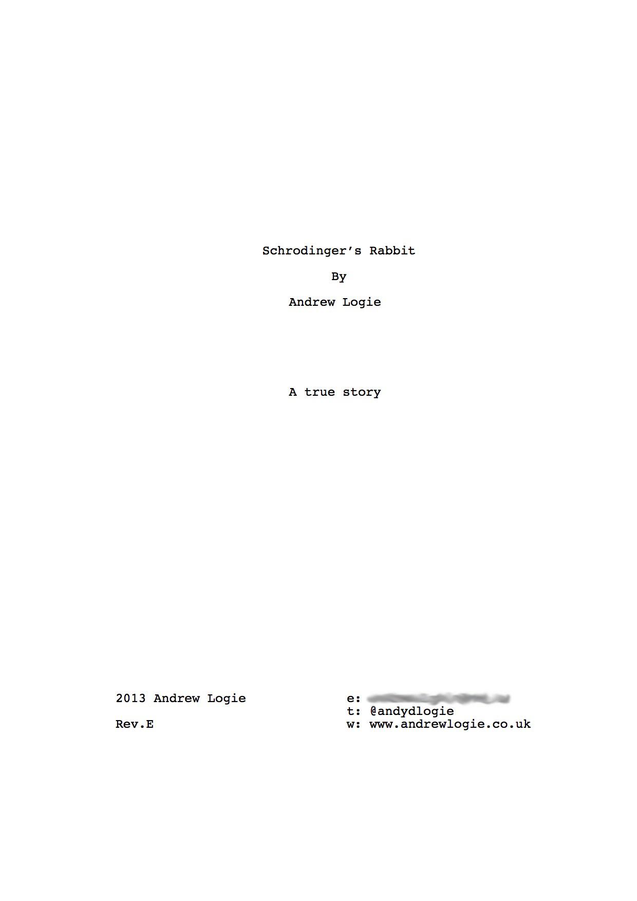 Schrodinger s rabbit final script andrewlogie