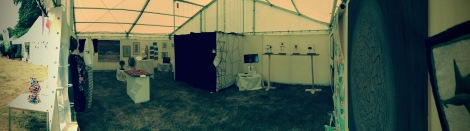 Panoramic image inside tent